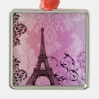lila rosa Damast Girly Paris-Eiffelturm Silbernes Ornament