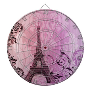 lila rosa Damast Girly Turm Paris Eiffel Dartscheibe