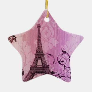 lila rosa Damast Girly Turm Paris Eiffel Keramik Ornament