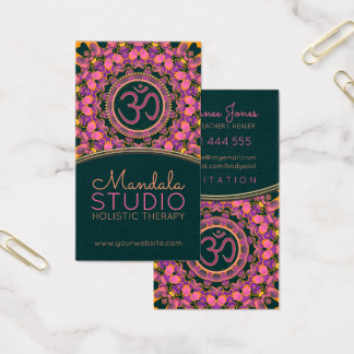 Lila rosa OmMandala OM-Yoga-Geschäfts-Karten Visitenkarte