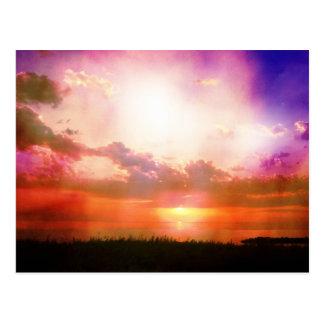 Lila rosa orange Sonnenuntergang-Foto redigieren Postkarte