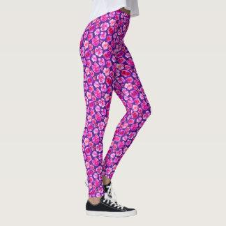 Lila rosa Pansy Watercolorkunst-Mustergamaschen Leggings