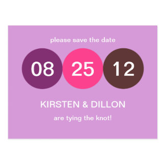Lila rosa Punkthochzeitsmitteilung Save the Date Postkarte
