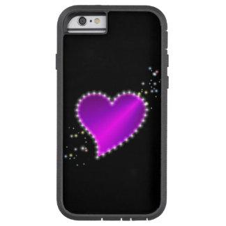 Lila rosa Regenbogen-Herz mit Sternen auf Tough Xtreme iPhone 6 Hülle