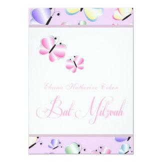 Lila rosa Schmetterlings-Schläger Mitzvah 12,7 X 17,8 Cm Einladungskarte