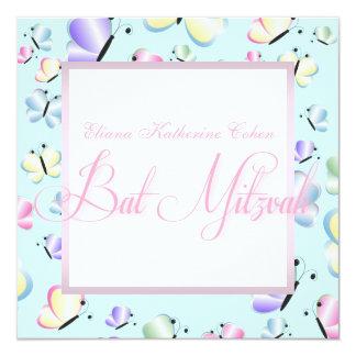 Lila rosa Schmetterlings-Schläger Mitzvah Quadratische 13,3 Cm Einladungskarte