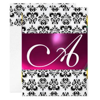 Lila rosa Schwarz-weißes Silber DES 16,5 X 22,2 Cm Einladungskarte