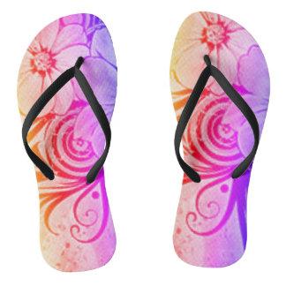 Lila, rosa und orange Blumen Flip Flops