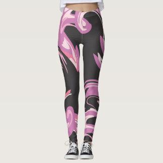 Lila rosa und schwarze entworfene Gamaschen Leggings