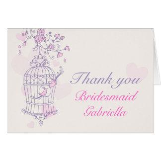 Lila rosa Vogelhochzeitsbrautjungfer danken Ihnen Karten