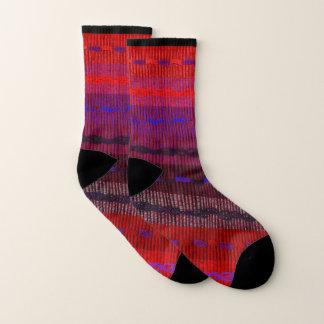 Lila rote blauer Streifen-Muster-Socken Socken