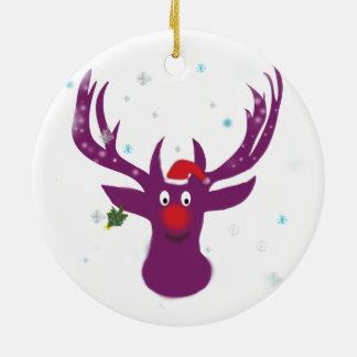 Lila Rotwild-Weihnachtsneues Jahr-Kreis-Verzierung Keramik Ornament