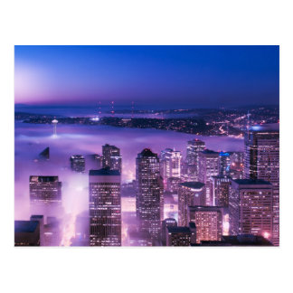 Lila Schatten-Seattle-Panorama Postkarten