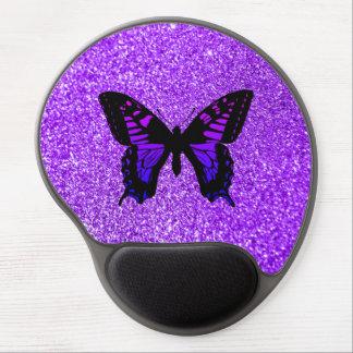 Lila Schmetterling auf Glitter Gel Mousepad