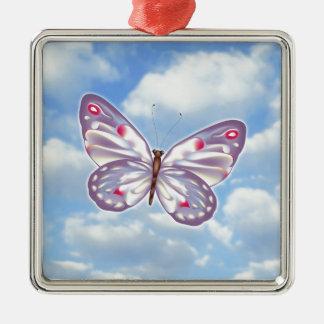 Lila Schmetterling Silbernes Ornament
