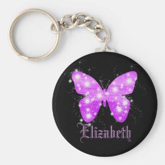 Lila Schmetterling und Sterne personalisiert mit Schlüsselanhänger