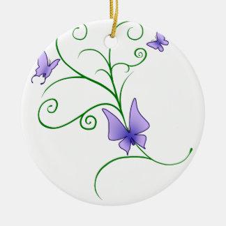 Lila Schmetterlinge Keramik Ornament