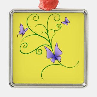 Lila Schmetterlinge Silbernes Ornament