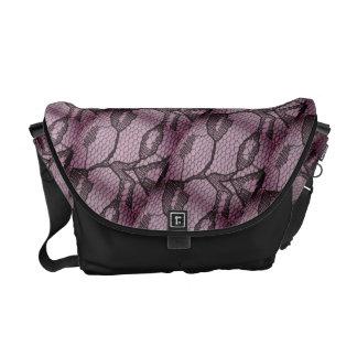 Lila schwarze Spitze-Blick-Bote-Tasche Kurier Taschen