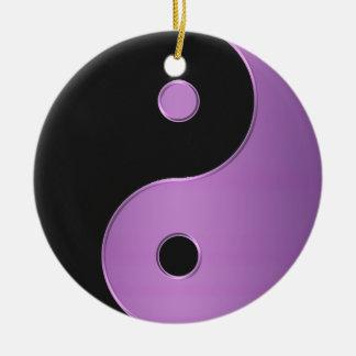 Lila schwarze Yin-Yang Rundes Keramik Ornament