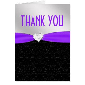 Lila schwarzer Blumendamast-Diamant danken Ihnen Karte