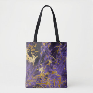 Lila schwarzes MarmorImitat-GoldGlitter-Muster Tasche