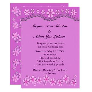 Lila sechs Blumenblatt-rosa Blumen, die Einladung
