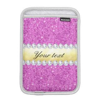 Lila Sequins-Goldfolie und -diamanten Sleeve Für iPad Mini