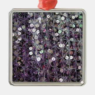 Lila Sequins u. Perlen Silbernes Ornament