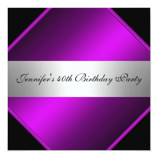 Lila silberne Geburtstags-Party Einladung