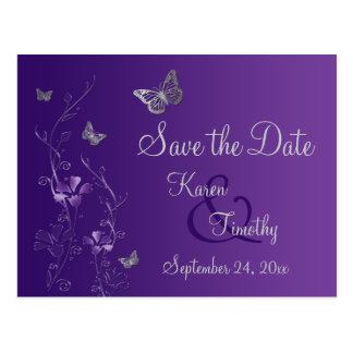 Lila, silberne Schmetterlings-Save the Date Postkarte