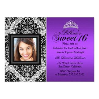 Lila silberner Glitter-Damast-Foto-Bonbon 16 11,4 X 15,9 Cm Einladungskarte