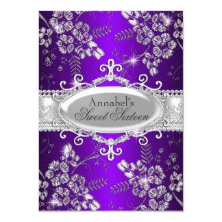 Lila silberner Schein-Blumen-Bonbon 16 11,4 X 15,9 Cm Einladungskarte