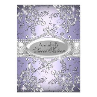Lila silberner Schein-Blumen-Bonbon 16 laden ein 11,4 X 15,9 Cm Einladungskarte
