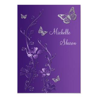 Lila silbernes Blumen mit Buttterflies Schläger 12,7 X 17,8 Cm Einladungskarte