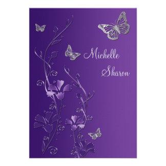 Lila silbernes Blumen mit Buttterflies Schläger Einladungskarten