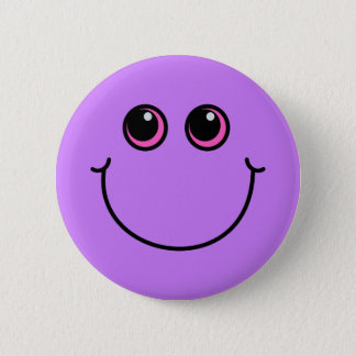 Lila Smiley Runder Button 5,1 Cm