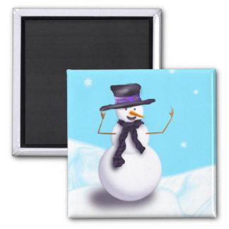Lila Snowman Quadratischer Magnet
