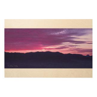 Lila Sonnenuntergang-hölzerne Wand-Kunst Holzdruck