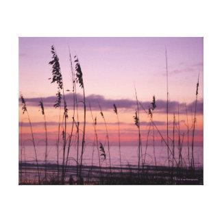 Lila Sonnenuntergang mit Seehafern Leinwanddruck