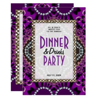 Lila Spitze-Glamour-Abendessen trinkt Party 12,7 X 17,8 Cm Einladungskarte