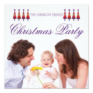 Lila Stern-Baum-Familien-WeihnachtsParty Einladung