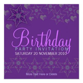 Lila Stern-Herz-Party-Geburtstags-Einladung Karte