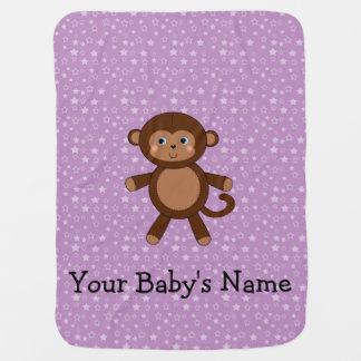 Lila Sterne des kundenspezifischen Babynamen-Affen Puckdecke