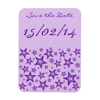 "Lila Sterne ""Save the Date"" blasses lila flexibles Magnet"