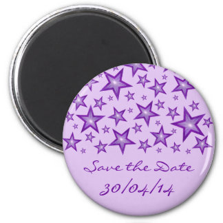 "Lila Sterne ""Save the Date"" blasses Lila Runder Magnet 5,7 Cm"