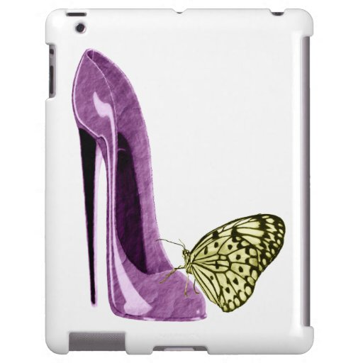 Lila Stilett-Schuh und gelber Schmetterling iPad K