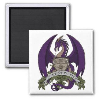 Lila Stonefire Drache-Wappen-Magnet Quadratischer Magnet