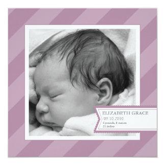 Lila Streifen-Foto-Geburts-Mitteilung Quadratische 13,3 Cm Einladungskarte