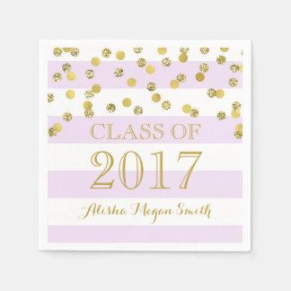 Lila Streifen-Goldconfetti-Abschluss 2017 Papierservietten